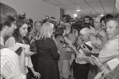 Sen. Kirsten Gillibrand meets with the press, Hoosick Falls Central School.