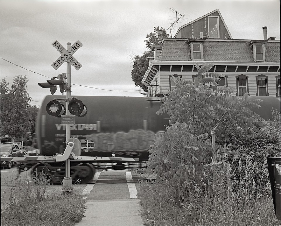 A freight train passes through the village.