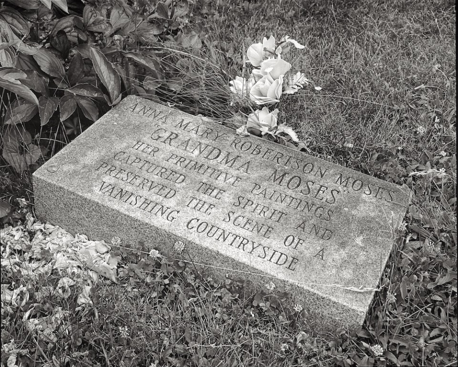 The artist Anna Mary Robertson Moses is buried in the Maple Grove Cemetery.