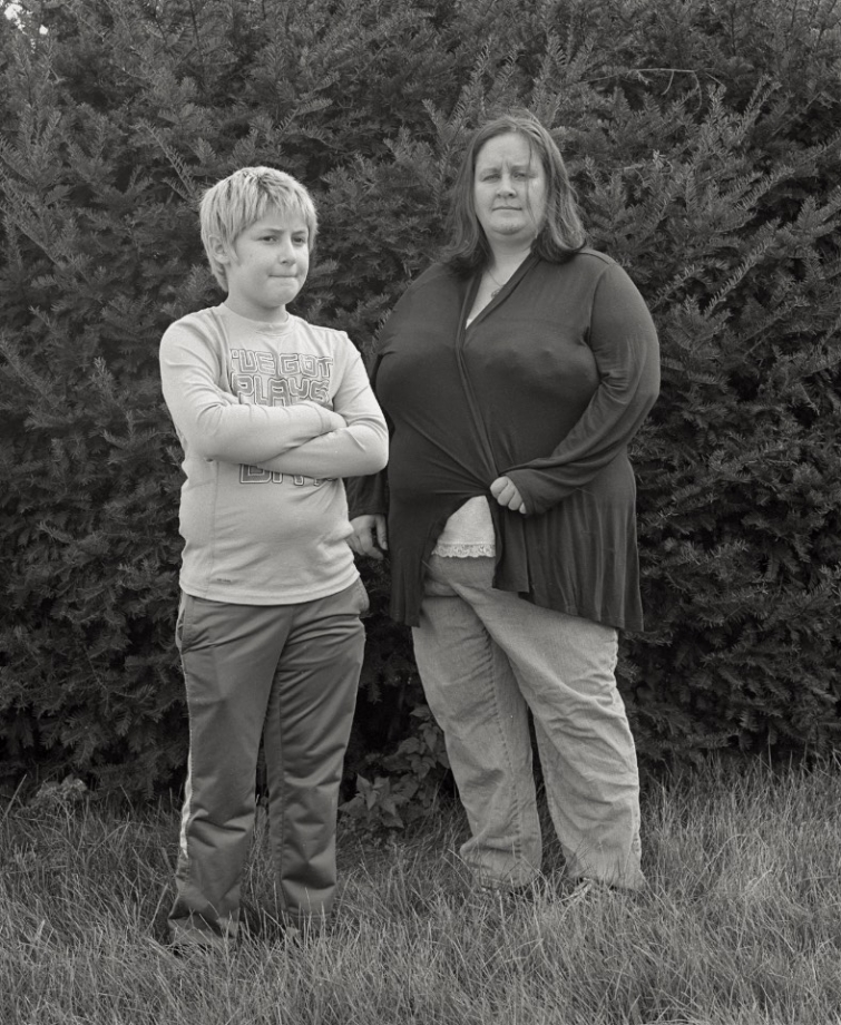 Kristopher Bishop, 10, and Michelle O'Leary, activist, Hoosick Falls, NY