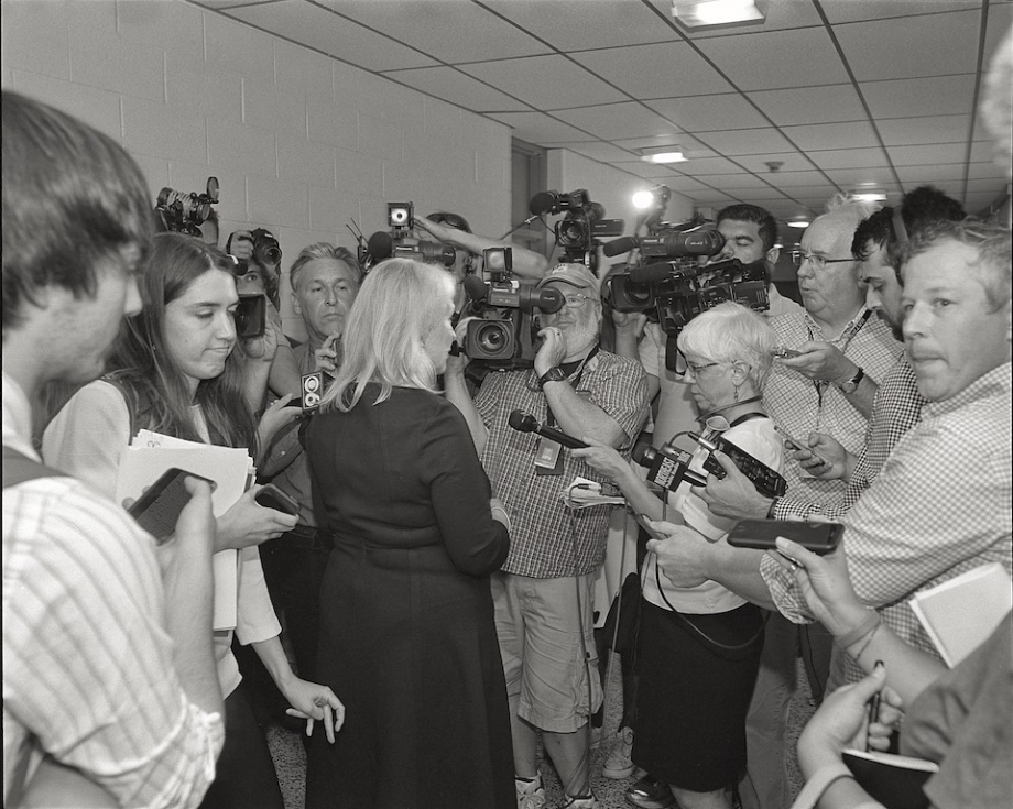 Sen. Kirsten Gillibrand meets with the press, Hoosick Falls Central School.