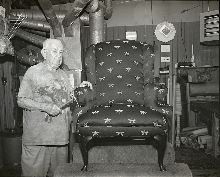 William O'Dell, who is in his 80s, continues to work as an upholsterer.